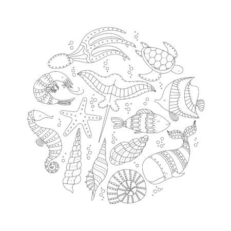 Ocean life - cute sea animal set. Linear drawing.