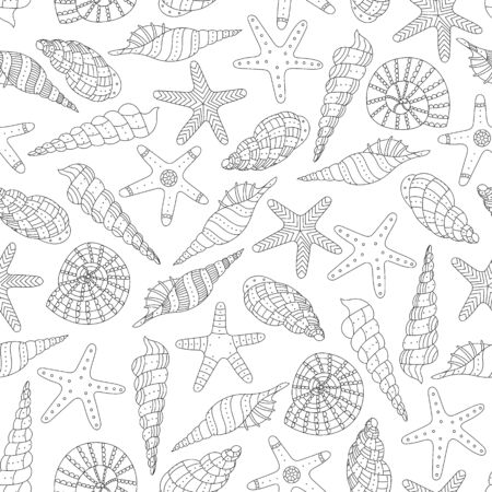Vector seamless pattern with shells and sea stars in an ethnic style. Marine background. Ilustracja
