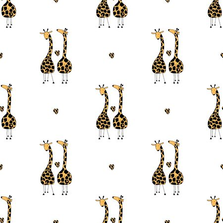 Couple giraffes in love seamless pattern. Cartoon cute giraffes on white. Ilustracja