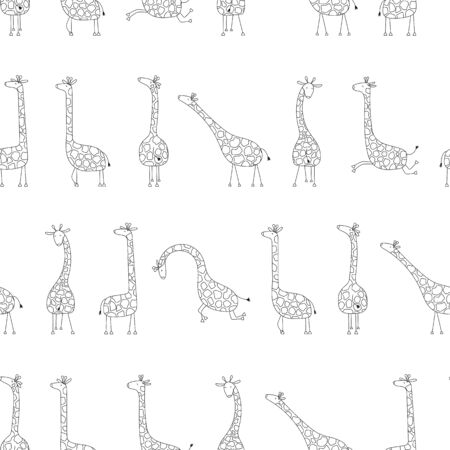 Vector seamless pattern with funny giraffes. Black and white cute cartoon giraffes. Ilustracja