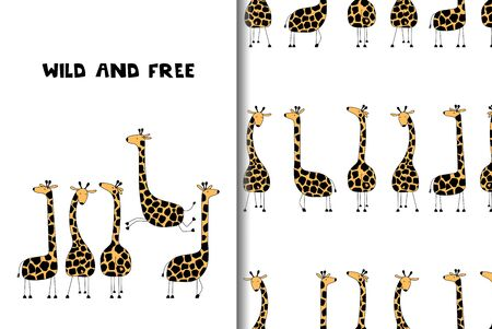 Greeting card and seamless pattern with funny giraffes.