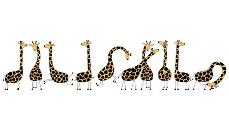 Funny giraffe family, cute animals.