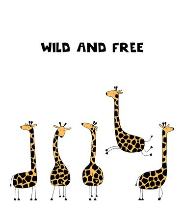 Funny giraffes isolated on white background. Wild and free. Ilustracja