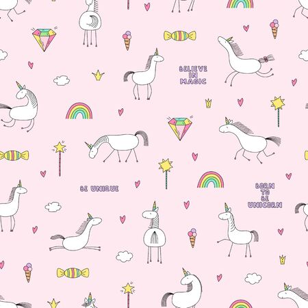 Magic unicorns seamless pattern isolated on pink background. Ilustracja