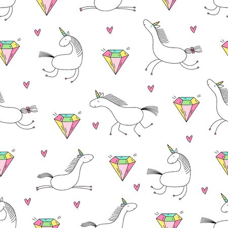 Unicorn and diamond seamless pattern on white. Ilustracja