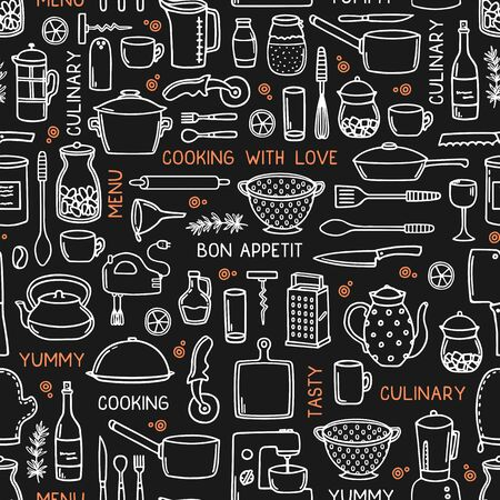 Kitchen seamless background in doodle style on black. Ilustracja