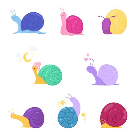 Cute cartoon snails on white background.