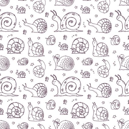 Cute snails seamless pattern on white background.