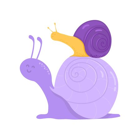 Snail with its baby on its shell on white. Ilustracja