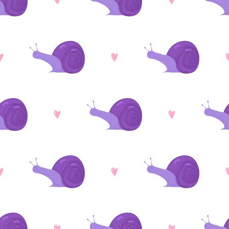 Cute purple snail and hearts seamless pattern on white. Ilustracja