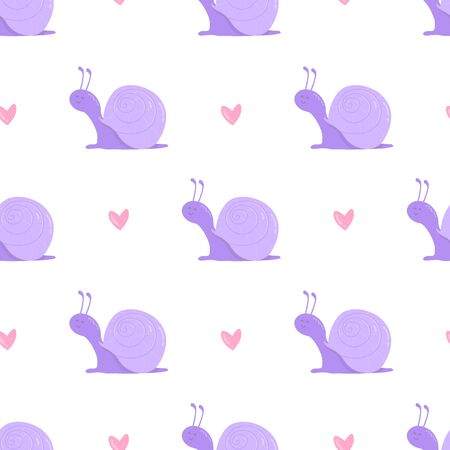 Cute snail and hearts seamless pattern on white.