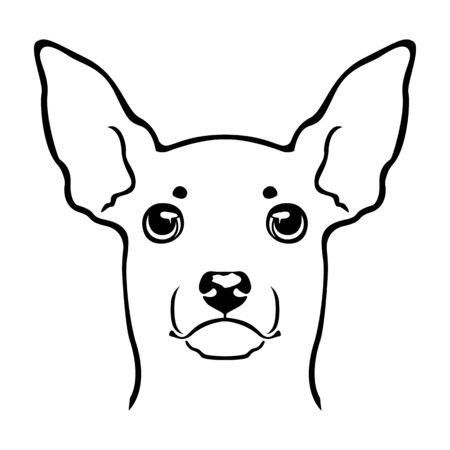Toy terrier dog emblem. Dog head . Black and white vector illustration. Ilustracja