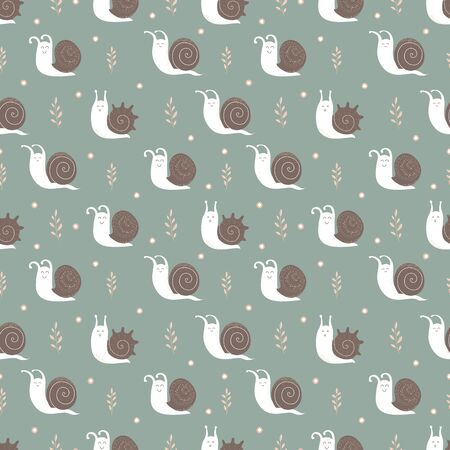 Little snails seamless pattern. White snails with a brown shell and floral elements.