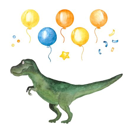 Watercolor set for the holiday - dinosaur, balloons, star and serpentine. Ilustracja