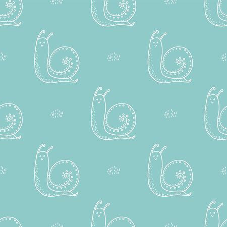 Doodle seamless pattern with snail. Hand drawn white snail on a turquoise background.