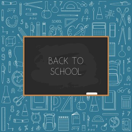 Back to school background with blackboard and school supplies.