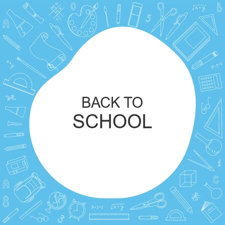 Back to school background with school elements on blue Ilustracja