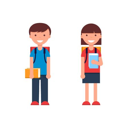 School kids in flat design. Boy and girl on white background.
