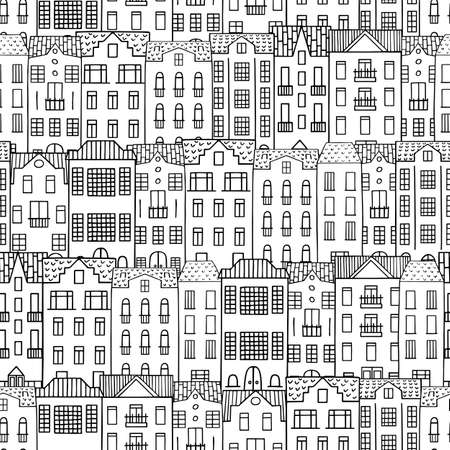 Seamless pattern with hand drawn doodle houses. City houses background.
