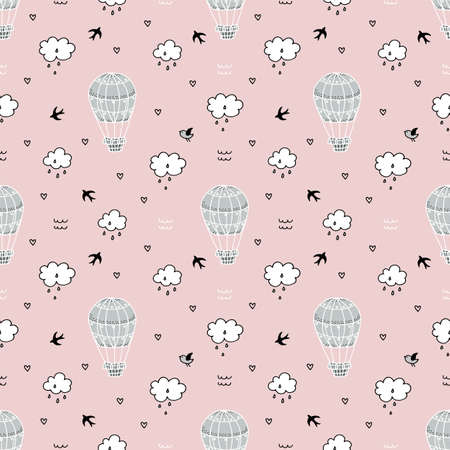 Seamless pattern with hot air balloon, clouds and birds.