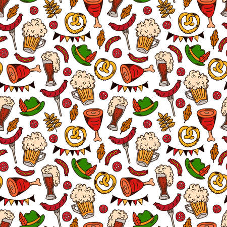 Hand drawn oktoberfest seamless pattern. Oktoberfest background pattern with drink and food on white.