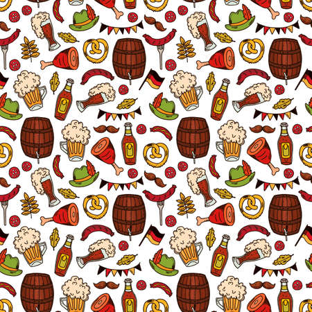 Hand drawn oktoberfest seamless pattern with drink and food on white background.