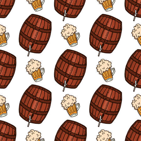 Hand drawn barrel and mug of beer seamless pattern. German beer festival.