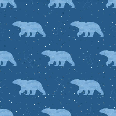 Vector stars and bears in the night sky seamless pattern. Ilustracja