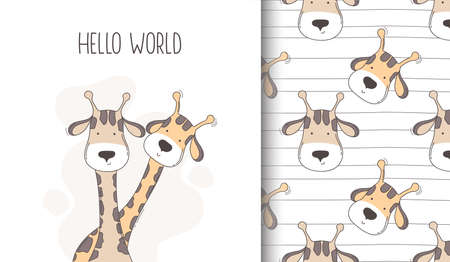 Hand drawn happy giraffe seamless pattern and greeting card. Ilustracja