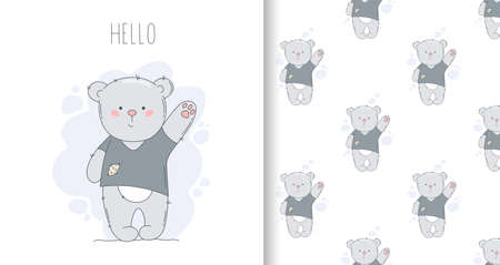 Drawn greeting card and seamless pattern with bear and word hello.
