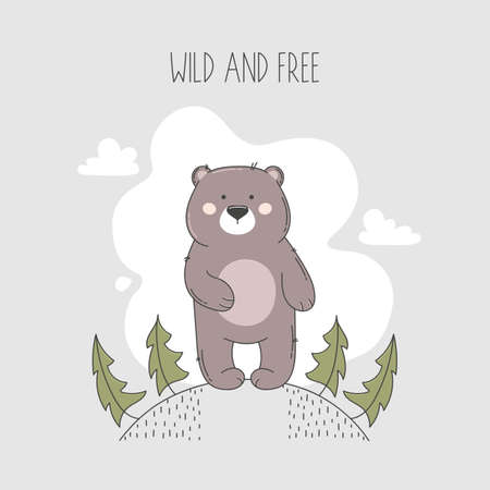 Bear illustration in forest with wild and free lettering.