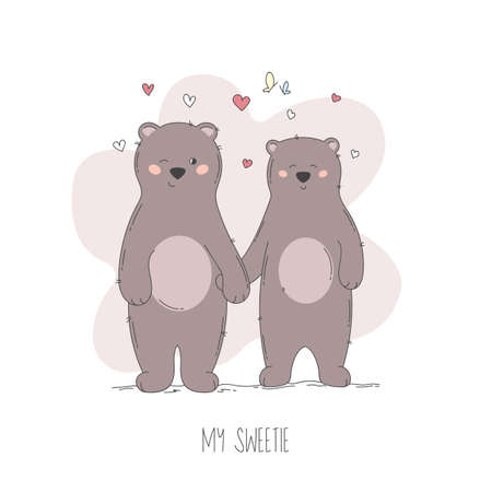 Hand drawn couple of love bears with little red hearts. Flat cartoon style.