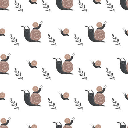 Vector seamless pattern with snails.