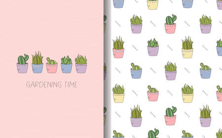 House plants card with text and seamless pattern set.