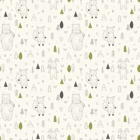 Hand drawn wild animals in forest seamless pattern.