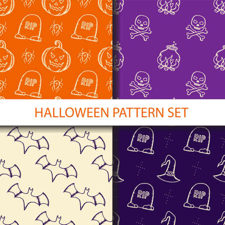 Hand drawn halloween seamless pattern set.