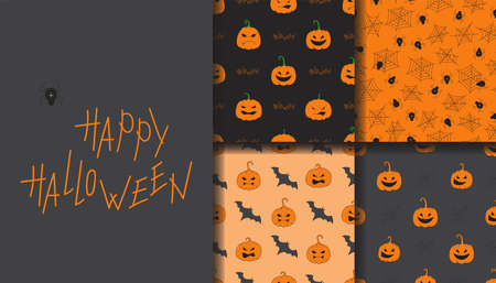 Happy Halloween seamless pattern set. Set of seamless patterns with traditional holiday symbols: pumpkins, bat, spiders and spider web. Ilustracja