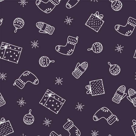 Hand drawn christmas seamless pattern. 向量圖像