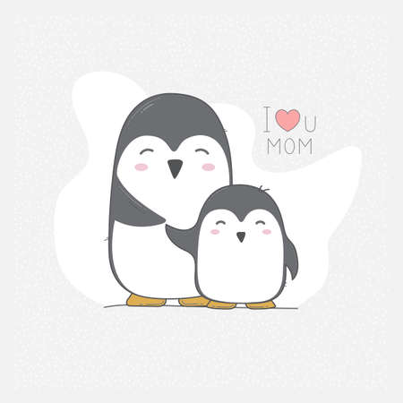 Hand drawn vector card with cute penguins. I love mom.