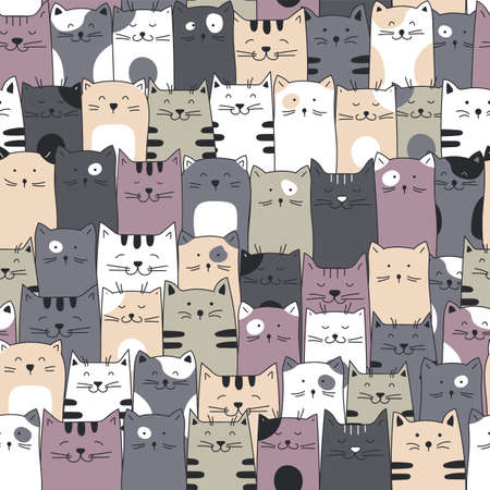 Seamless cats pattern. Hand drawn cartoon cats seamless background.