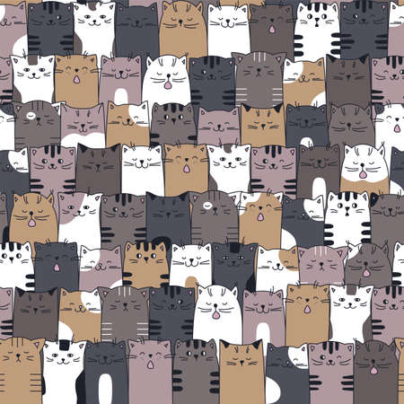 Kittens seamless pattern in cartoon style. Drawn seamless background funny cats 向量圖像