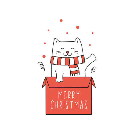 Cute Christmas cat in gift box. Winter Greeting card for Christmas and New Year.
