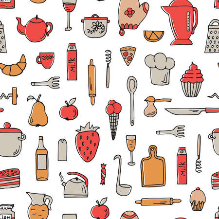 Colorful seamless pattern with cooking tools and food on white. 向量圖像