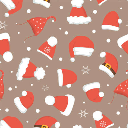 Santa hats seamless Christmas pattern.