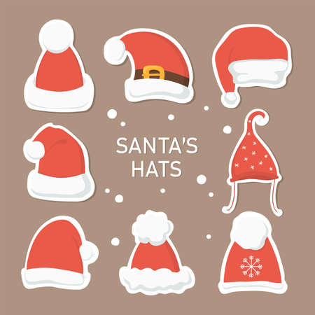 Cute Santa's hats stickers set. Christmas and New Year vector symbols.