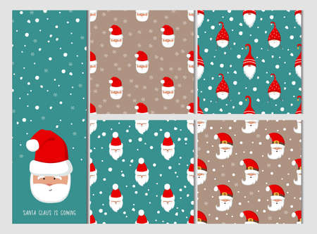 Cute Santa Claus vector seamless pattern set. Christmas seamless pattern with Santa and snow.