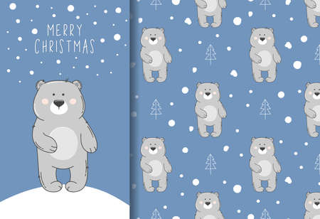 Seamless pattern witn gray bear and snow and Merry Christmas greeting card. Cute winter pattern.
