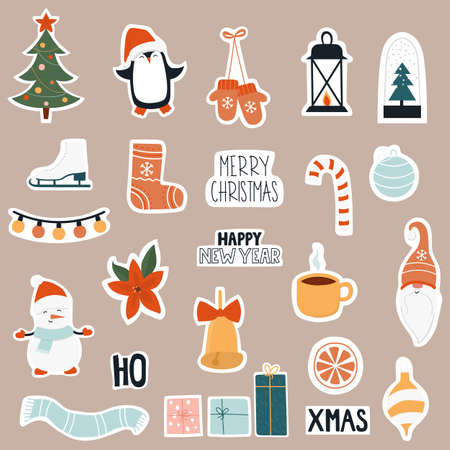 Christmas sticker icon set.