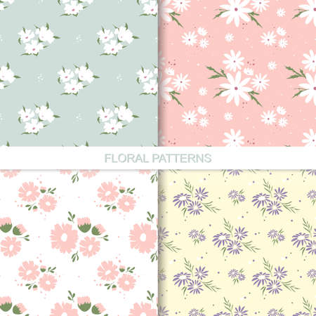Floral pattern collection. Collection of flower patterns. Endless texture for wallpaper, greeting cards, scrapbooking, textiles, wrapping paper.