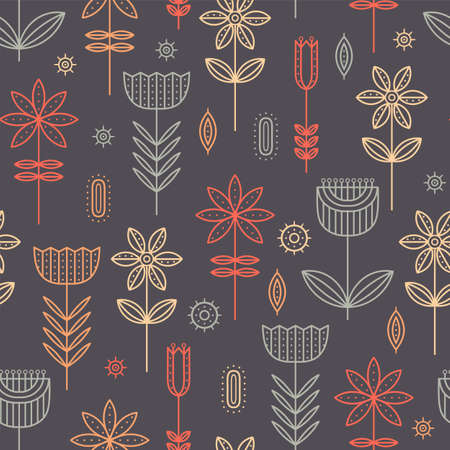 Floral colorful simple seamless pattern. 向量圖像